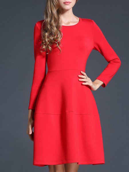 A-line Long Sleeve Elegant Midi Dress