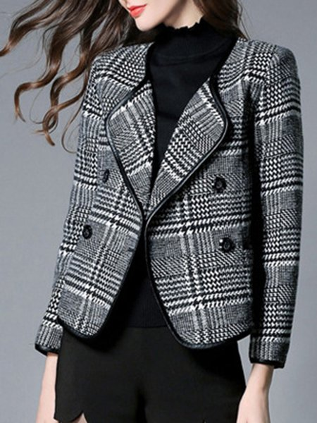 Long Sleeve Casual Swing Pockets Pea Coat with Belt
