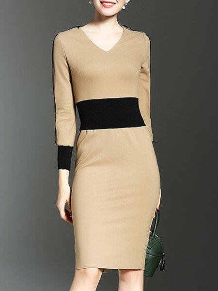 Elegant V Neck Long Sleeve Midi Dress