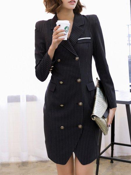 Elegant Stripes Sheath Buttoned Long Sleeve Midi Dress