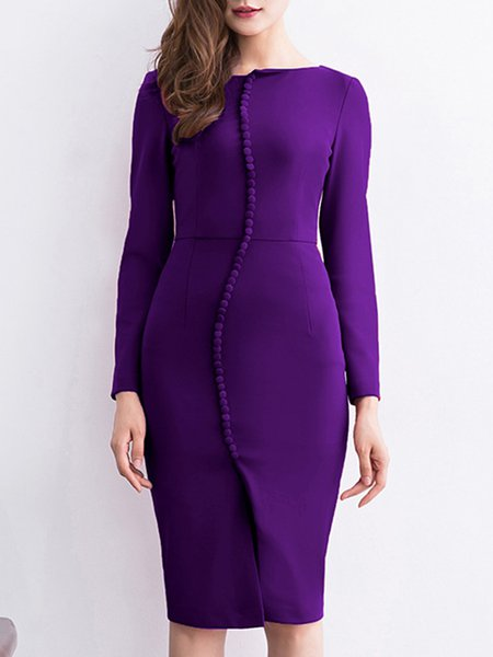 Purple Solid Long Sleeve Midi Dress