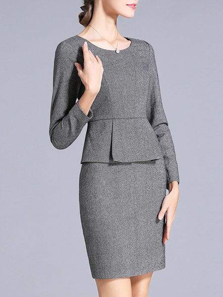 Wool Blend Long Sleeve Elegant Crew Neck Sheath Midi Dress