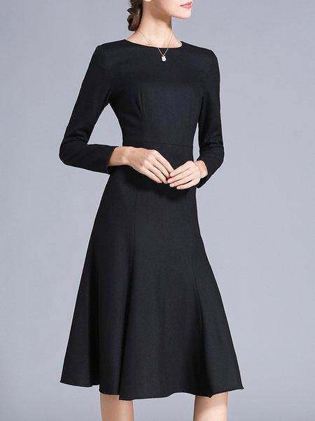 Elegant Blend Long Sleeve Solid A-line Midi Dress
