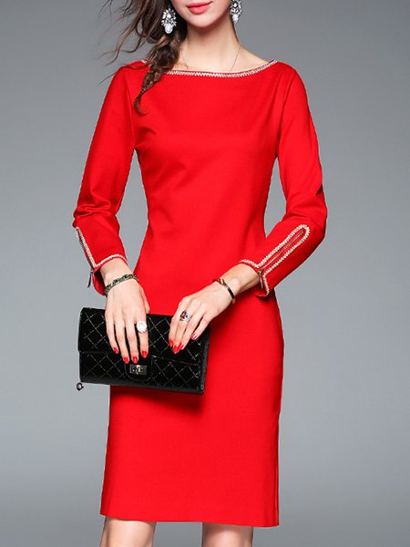 Red Elegant Sheath Slash Neck Midi Dress