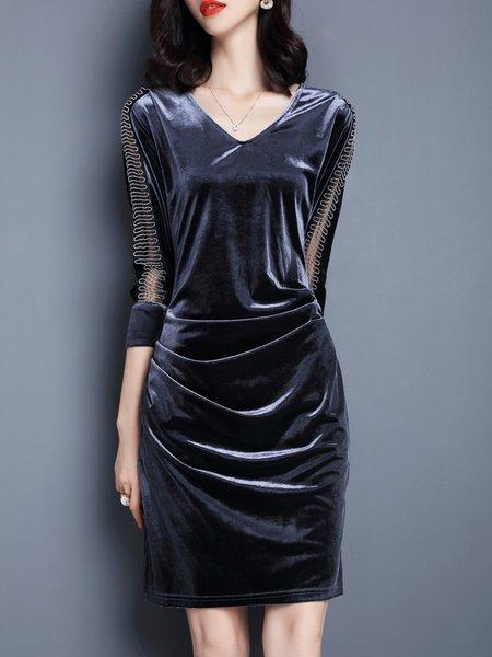 Gray V Neck Paneled Elegant Sheath Midi Dress