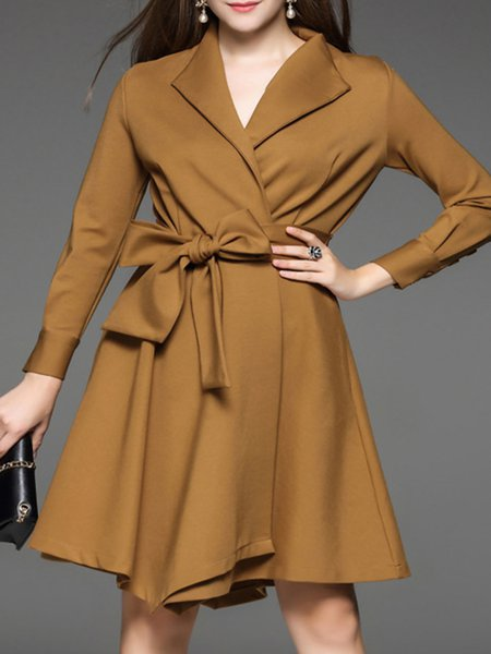 Bow Wrap A-line Elegant Midi Dress