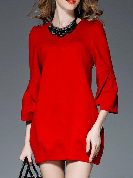 Red Cotton-blend Bell Sleeve Mini Dress