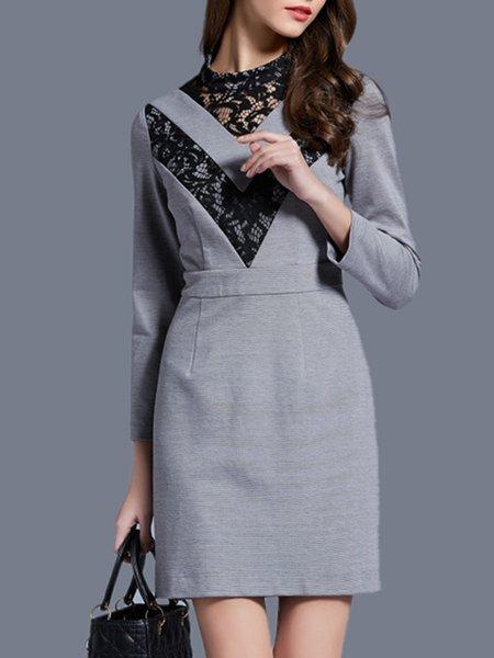 Gray Long Sleeve Lace Paneled Midi Dress