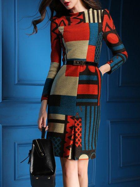 Multicolor Sheath Printed Long Sleeve Midi Dress