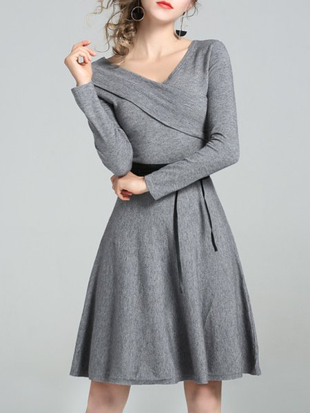 Long Sleeve Surplice Neck Wrap Casual Midi Dress