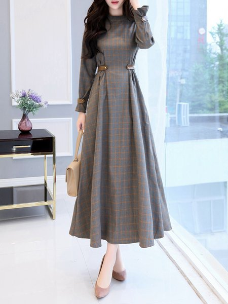 Elegant Long Sleeve Checkered/Plaid A-line Maxi Dress