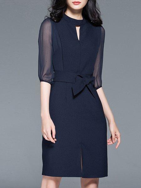 Half Sleeve Paneled Sheath Keyhole Elegant Midi Dress