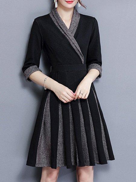 Black Wrap Cotton-blend A-line 3/4 Sleeve Midi Dress