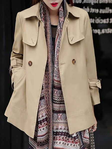 Shirt Collar Solid Long Sleeve A-line Trench Coat