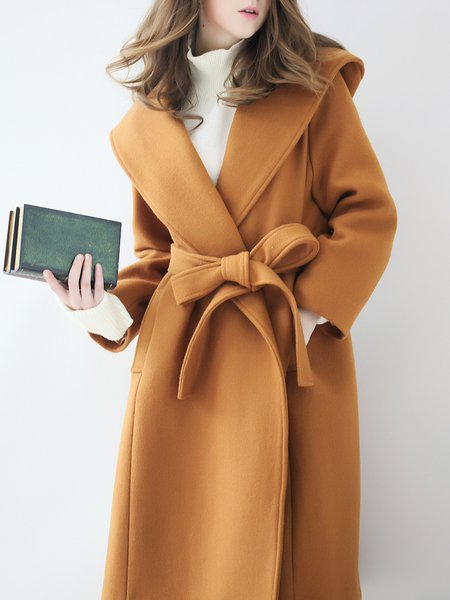 Shawl Collar A-line Cotton Long Sleeve Casual Coat