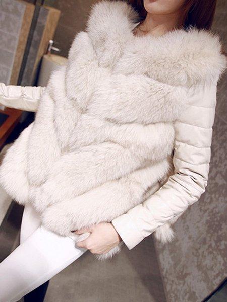 Paneled Elegant A-line Fur And Shearling Coat