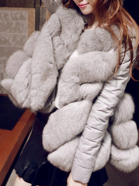 Paneled Long Sleeve Elegant Fur And Shearling Coat