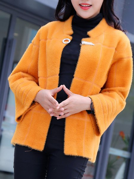 Stand Collar Solid H-line Long Sleeve Coat