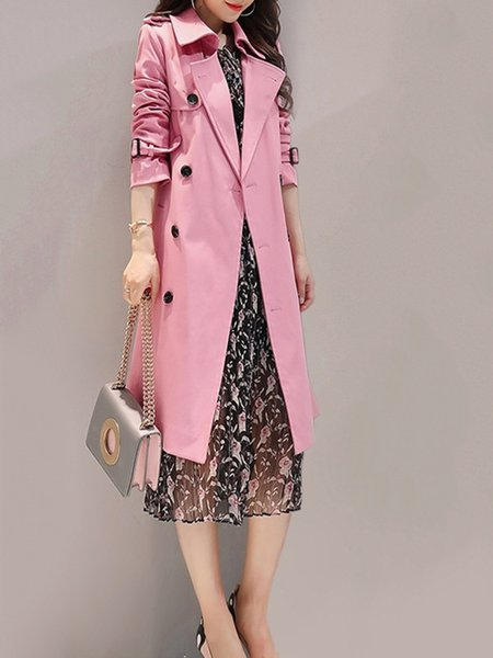Solid Long Sleeve Lapel Casual Trench Coat