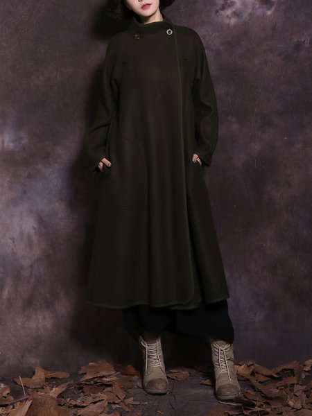 Army Green Long Sleeve Solid H-line Linen Outerwear