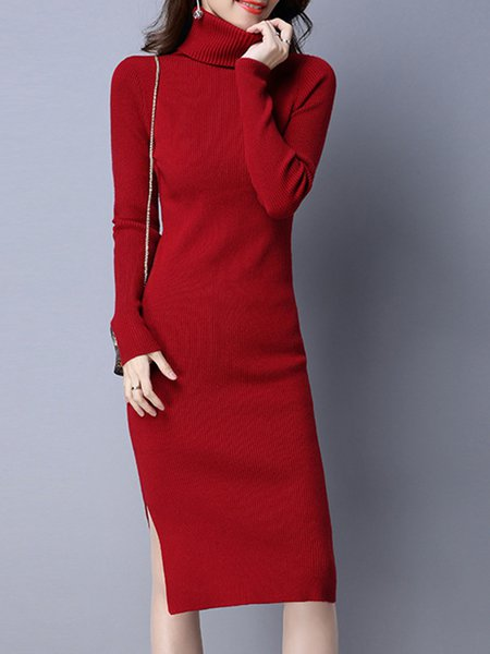 Long Sleeve Solid Stand Collar Midi Dress