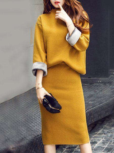 Knitted Long Sleeve Stand Collar Elegant Top With Skirt