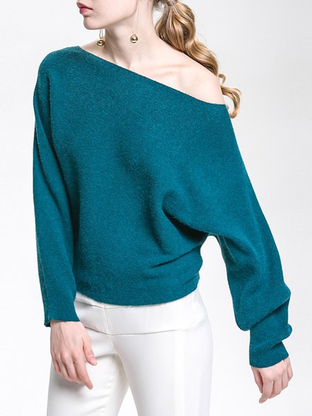 Aqua Knitted Batwing Solid Sweater