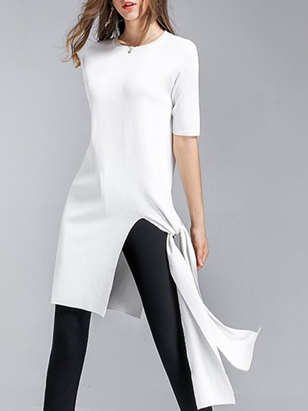 Half Sleeve Solid Crew Neck Asymmetric Tunic