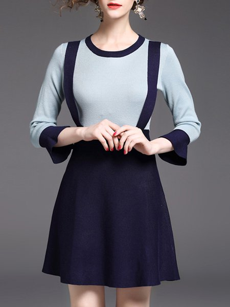 Navy Blue A-line Knitted Girly Color-block Midi Dress