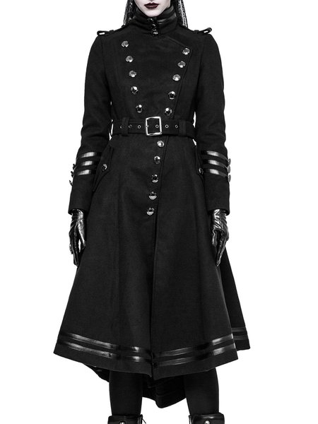 Black Buttoned Solid Statement Coat