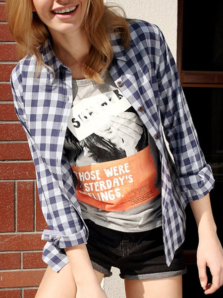Casual Cotton Printed Gingham Blouse