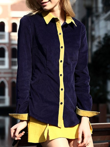 Cotton Solid Shirt Collar Casual Blouse