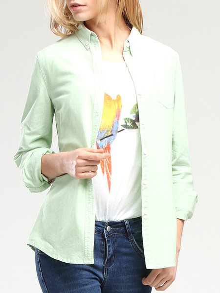 Cotton Shirt Collar Casual Long Sleeve Blouse