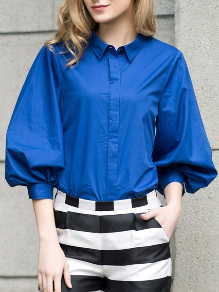 Royal Blue Balloon Sleeve Solid Blouse