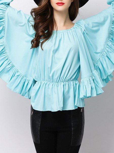 Off Shoulder Bell Sleeve Solid Casual Blouse