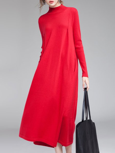 Plus Size Solid Stand Collar Casual Sweater Dress