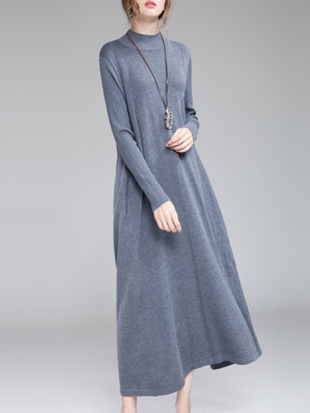Solid Long Sleeve Stand Collar Casual Sweater Dress
