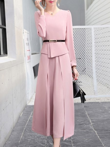 Asymmetric Long Sleeve Top With Pants