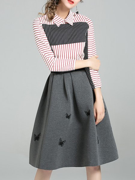 Gray Long Sleeve Color-block Stripes Top With Skirt