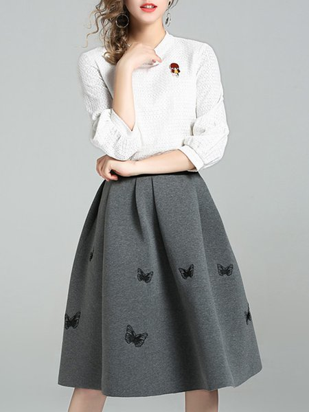 A-line Embroidered Simple Top With Skirt