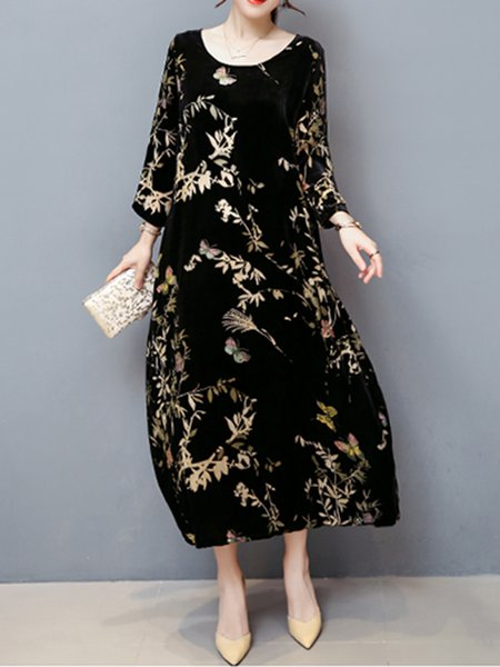 Black Maxi Dress Shift Daytime Casual Floral Dress