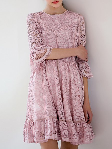 Guipure Lace Bell Sleeve Girly Midi Dress