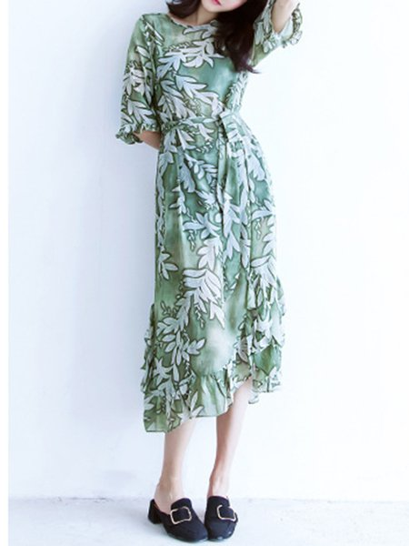 Asymmetrical Printed Polyester Half Sleeve Dress With Cami