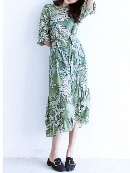Asymmetrical Printed Half Sleeve Dress With Cami