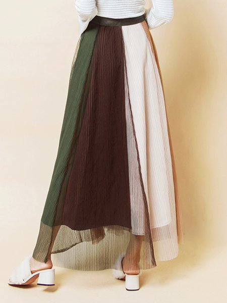 Multicolor Color-block Casual Midi Skirt