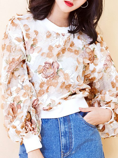 Apricot Long Sleeve Appliqued Top