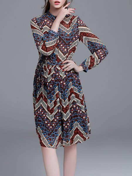 Crimson Stand Collar Geometric Vintage Midi Dress