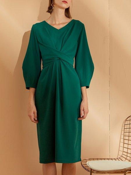 Slit Balloon Sleeve  Midi Dress