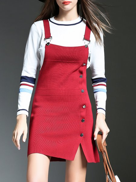Stripes Crew Neck Two Piece Knitted Buttoned Mini Dress