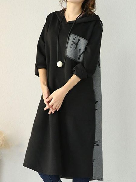 Black Letter Long Sleeve H-line Hoodie Linen Dress